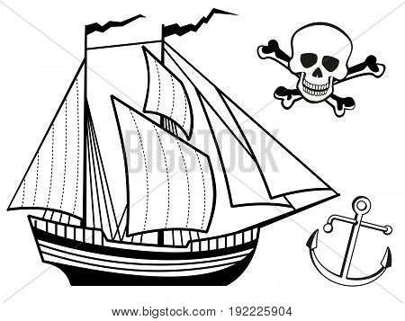 Coloring page with ship, anchor and human skull. Vector illustration