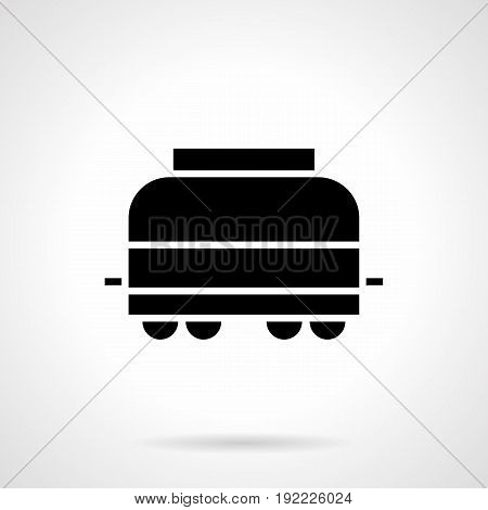 Abstract monochrome symbol of covered railroad car. Freights transportation concept. Symbolic black glyph style vector icon.
