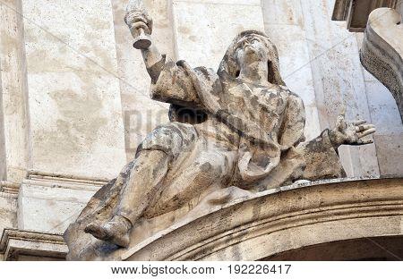 ROME, ITALY - SEPTEMBER 03: Angel on facade of San Marcello al Corso church in Rome, Italy on September 03, 2016.