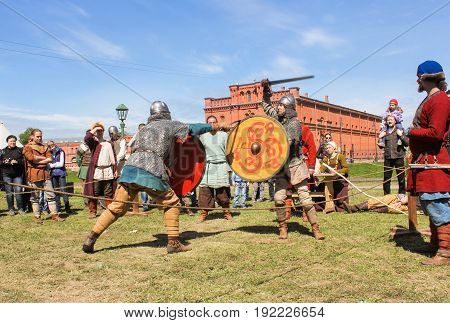 St. Petersburg Russia - 28 May, Knight tournament on swords, 28 May, 2017. Knight tournament at the festival of ancient Vikings in St. Petersburg.