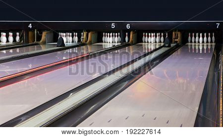 bowling pins on a large playing field