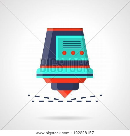 Abstract bright symbol of laser with sparks. Modern industrial equipment and processing technology. Flat color style vector icon.