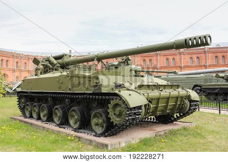 St. Petersburg Russia - 28 May, Self-propelled gun Hyacinth-C, 28 May, 2017. Military History Museum of combat equipment in St. Petersburg.