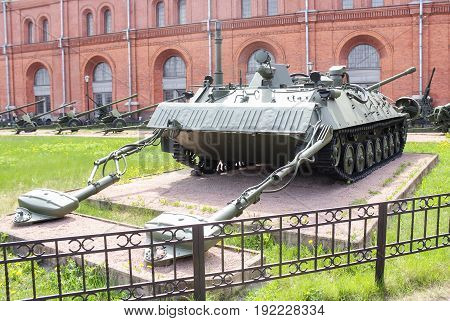St. Petersburg Russia - 28 May, Engineering reconnaissance machine IRM, 28 May, 2017. Military History Museum of combat equipment in St. Petersburg.