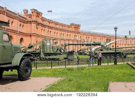 St. Petersburg Russia - 28 May, Visitors to the military-historical museum, 28 May, 2017. Military History Museum of combat equipment in St. Petersburg.