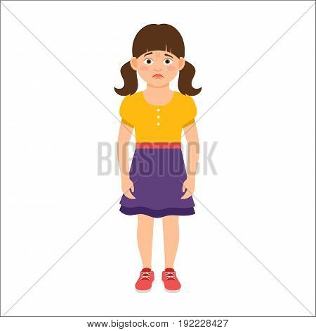 Disappointed little girl in summer dress isolated vector illustration on white background