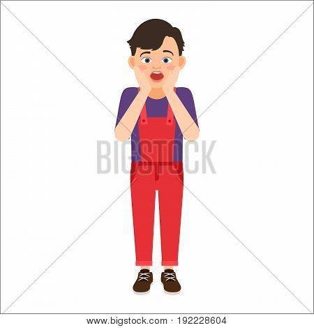 Scared boy in a denim overalls isolated vector illustration on white background
