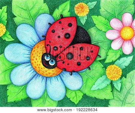 hand drawn picture of ladybird sits on flower by the color pencils