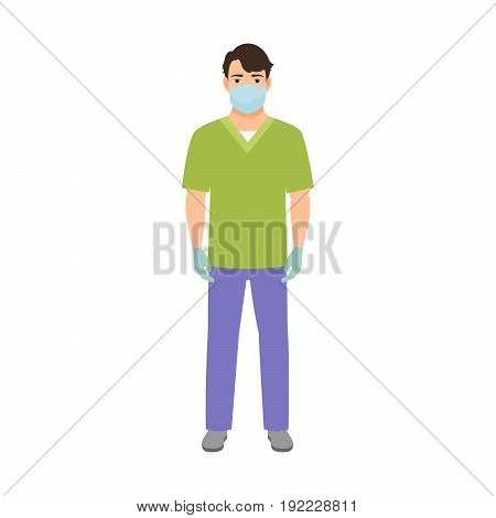 Anesthetist medical specialist isolated vector illustration on white background