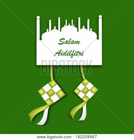 Illustration of traditional Malay Ketupat and mosque with Salam aidilfitri text on the occasion of Muslim festival Salam aidilfitri