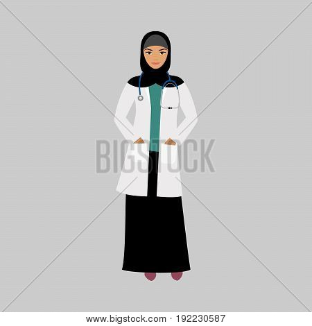 Oncologist medical specialist isolated vector illustration on grey background