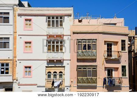 VALLETTA, MALTA - MARCH 30, 2017 - Traditional buildings with balconies in the city centre Valletta Malta Europe, March 30, 2017.