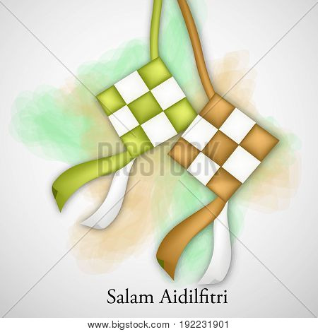 illustration of traditional malay ketupat with salam aidilfitri text on the occasion of muslim festival Eid