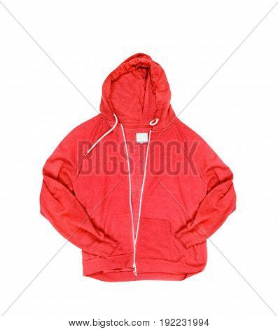 Red hoodie isolated on a white background