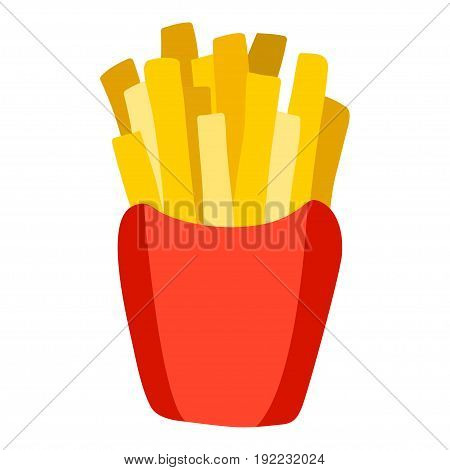 French Fries In Paper Box Vector Icon.
