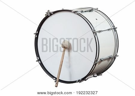 classic musical instrument big drum isolated on white background