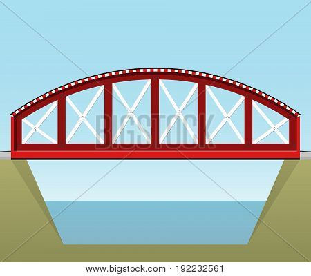 Red vector train bridge in side view and isolated on white background. Industrial 2d transportation building. Metallic bridge architecture. Railway bridge. Assembled riveted bridge construction.