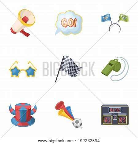 A scarf, a hat with horns and other attributes of the fans.Fans set collection icons in cartoon style vector symbol stock illustration .