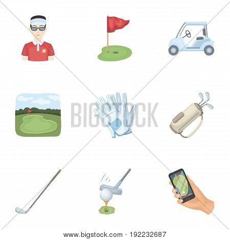 A golfer, a ball, a club and other golf attributes.Golf club set collection icons in cartoon style vector symbol stock illustration .