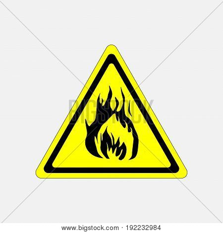 fire alarm sign yellow triangle flammable substance fire fully editable image