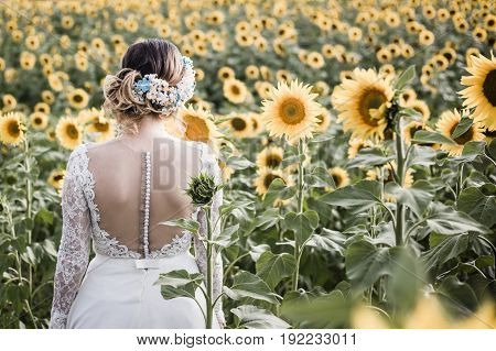 Beautiful Bride with Sunflowers, Romantic Bride, Beauty