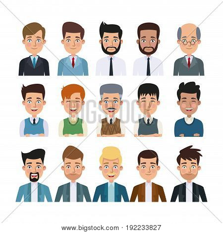 white background of colorful half body set of multiple men characters for business vector illustration