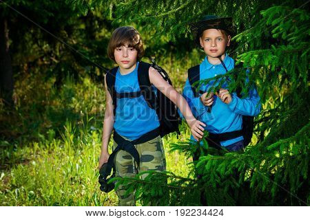 Two boys friends go hiking with backpacks. Summer holidays. Outdoor activities.