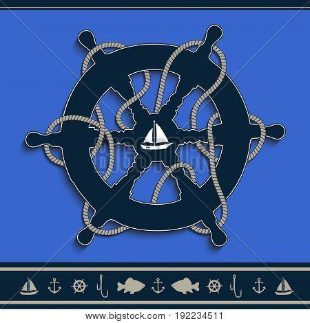Rudder marine blue blue nautical frame rope, icons, vector