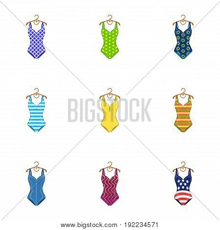 Different kinds of swimsuits. Swimsuitsset collection icons in cartoon style vector symbol stock illustration .
