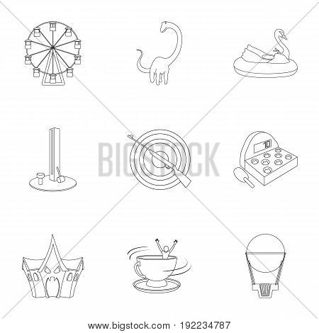 The amusement Park rides. The attributes of a recreational Park, panic room, cotton candy.Amusement Park icon in set collection on outline style vector symbol stock web illustration.