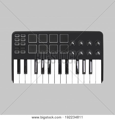 Musical instrument - Sloseup MIDI piano keyboard. It is isolated on a grey background