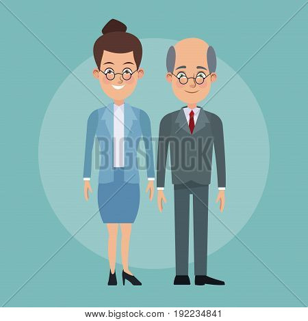 color background full body couple of woman collected hairstyle and elderly bald man with formal suit characters for business vector illustration