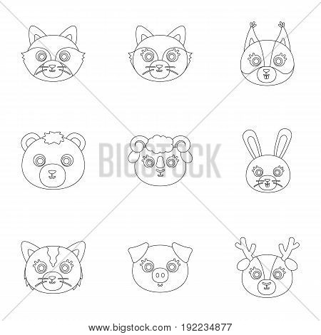Wild and domestic animals. A set of pictures about animals. Animal muzzle icon in set collection on outline style vector symbol stock web illustration.