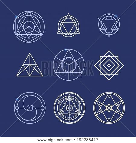 Alchemy Geometry Symbol Thin Line Set Mystical Web Elements for Design on a Blue Background. Vector illustration