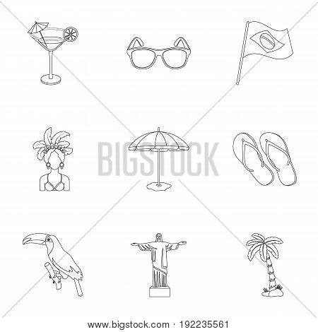 set of icons on the subject of Brazil. Brazilian national attractions. Brazil country Aicon in set collection on outline style vector symbol stock web illustration.