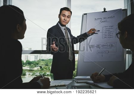 Group of Asian managers gathered together in boardroom with panoramic windows and discussing possible ways to increase company profits