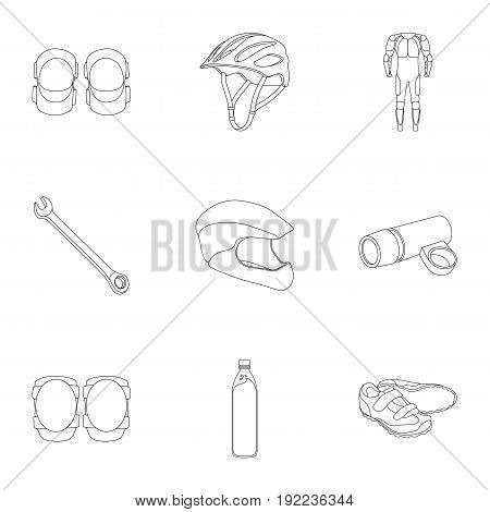 Icons of Cycling, bike. Set for bike, backpack protection, repair, form. Cyclist outfit icon in set collection on outline style vector symbol stock web illustration.