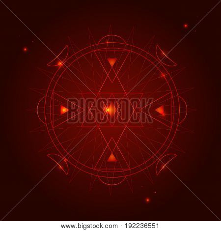 Alchemy Geometry Symbol Thin Line Hipster Circle Sign on a Dark Red Background. Vector illustration