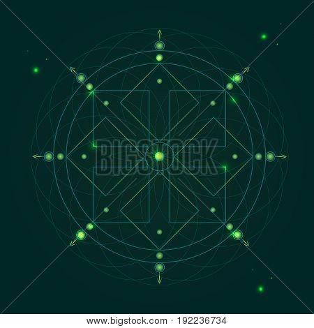 Alchemy Geometry Symbol Thin Line Mystic or Hipster Sign on a Green Background. Vector illustration