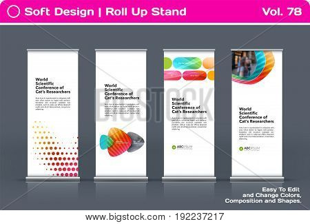Abstract business vector set of modern roll Up Banner stand design template with colourful soft shapes for summer festival, market, show, expo, presentation, parade, events.