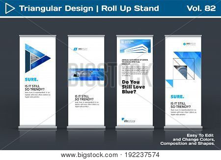 Abstract business vector set of modern roll Up Banner stand design template with blue triangles, arrows for tech, market, exhibition, show, expo, presentation, parade, events.
