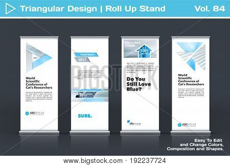 Abstract business vector set of modern roll Up Banner stand design template with grey triangles, arrows for tech, market, exhibition, show, expo, presentation, parade, events.