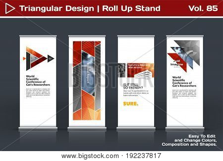 Abstract business vector set of modern roll Up Banner stand design template with red triangles, arrows for tech, market, exhibition, show, expo, presentation, parade, events.