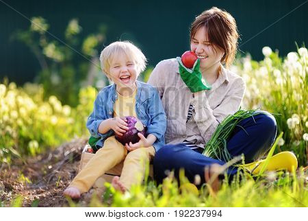 Young Woman And Her Adorable Little Son Enjoying Harvest