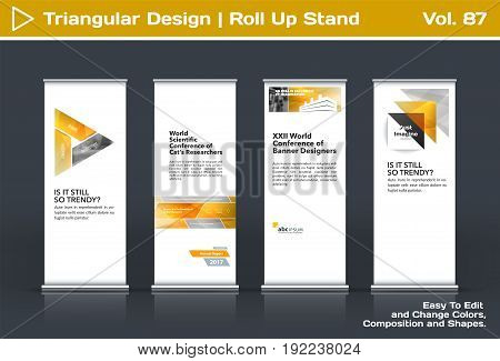 Abstract business vector set of modern roll Up Banner stand design template with yellow triangles, arrows for tech, market, exhibition, show, expo, presentation, parade, events.