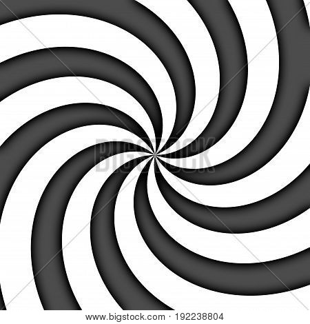 Spiral twirl radial black and white rays