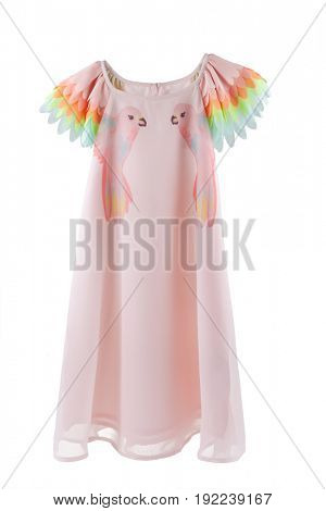Chiffon dress with parrot prints and colorful wings for sleeves, clothes for children, pink dress for little girls isolated on white background