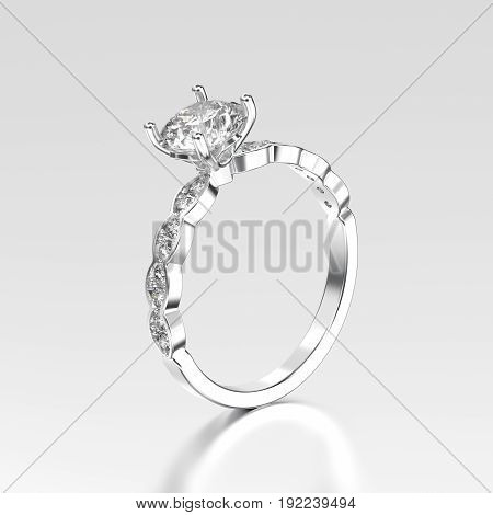 3D illustration white gold or silver ring with diamonds with reflection on a grey background
