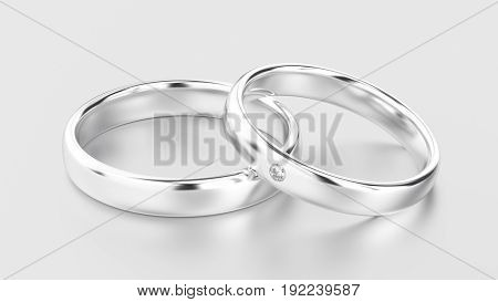 3D illustration classic white gold or silver rings with diamond on a white background with reflections and shadows