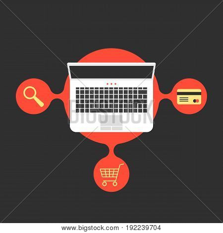 online shopping with laptop and red bubble. concept of merchant, finance, banking, on-line supermarket, transaction. isolated on black background. flat style trend modern design vector illustration